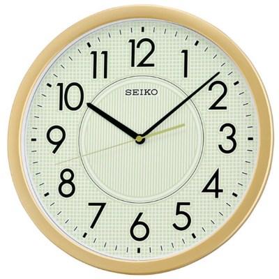 SEIKO 螢光滑動式秒針靜音掛鐘-金/36.1cm