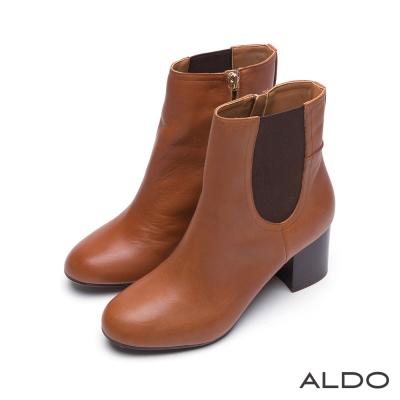 ALDO-柔軟真皮拼布木紋金屬拉鍊跟靴-百搭焦糖