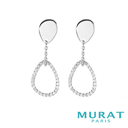 MURAT Paris米哈巴黎 簡約曲線水滴垂吊耳環