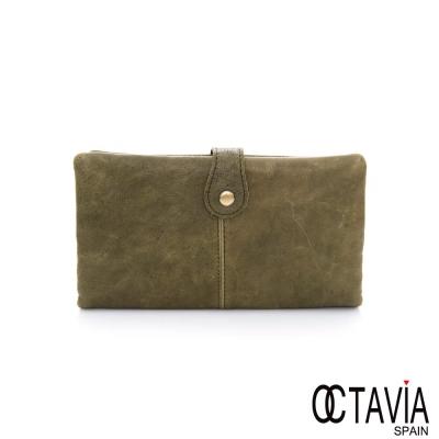 OCTAVIA 8 真皮-痕跡 仿舊復古兩折壓扣長夾- 仿舊綠