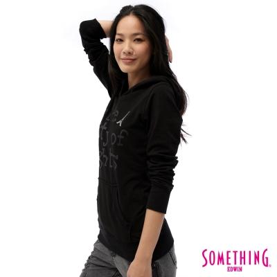 SOMETHING燙鑽鐵塔連帽T恤-女款-黑色