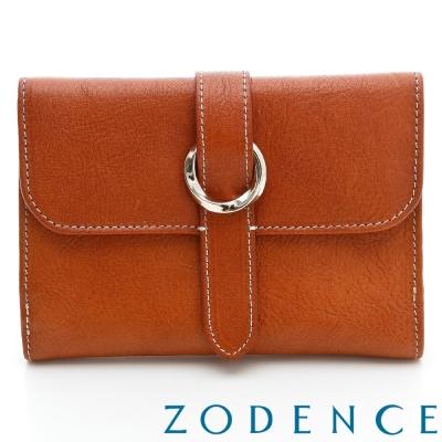 ZODENCE-義大利植鞣革系列皮扣中夾-駝