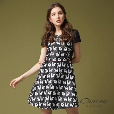 OUWEY歐薇 可愛小貓短袖洋裝(黑)