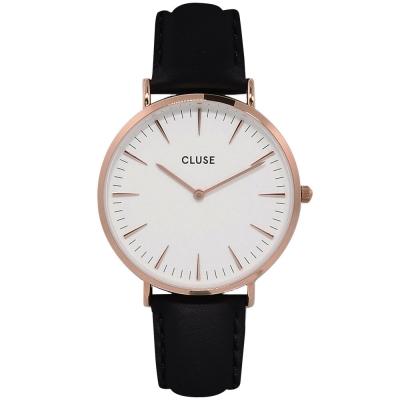 CLUSE荷蘭精品手錶 波西米亞玫瑰金系列 白錶盤/黑皮革錶帶38mm