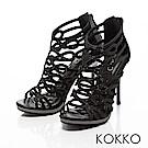 KOKKO -華麗年代水鑽盛宴高跟透膚涼鞋-性感黑