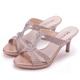 MAGY時尚優雅名媛燙鑽造型細高跟涼拖鞋粉色