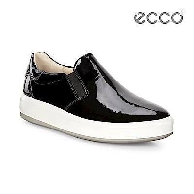 ECCO SOFT 9 漆皮厚底懶人鞋-黑