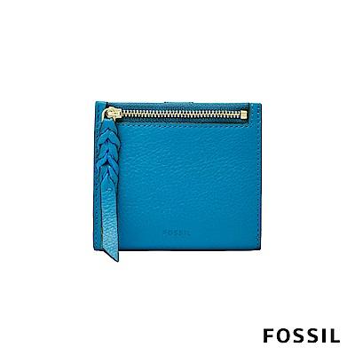 FOSSIL CAROLINE真皮短夾-湛藍天空