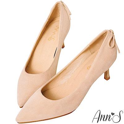 Ann'S輕熟感-柔軟羊麂皮典雅蝴蝶結尖頭低跟鞋-杏