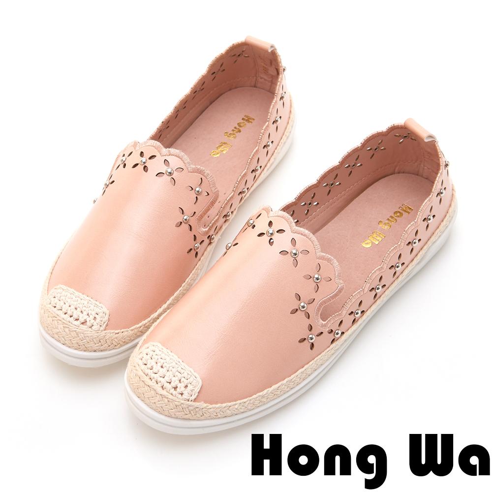 Hong Wa 復古碎花孔鉚釘休閒便鞋 - 粉