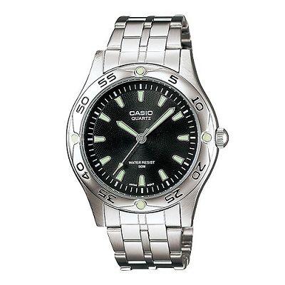 CASIO 時刻夜光時尚不鏽鋼腕錶(MTP-1243D-1A)-黑/40mm