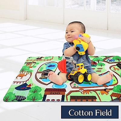 棉花田 魔法空間 法蘭絨印花防滑遊戲毯-動物園(76x117cm)