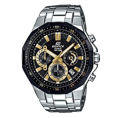 EDIFICE俐落帥氣科技感立體多角切割框賽車錶(EFR-554D-1A9)黑面X金刻47