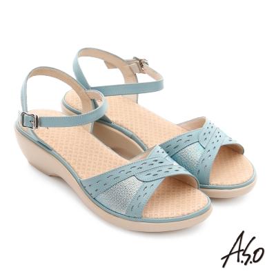 A.S.O 挺麗氣墊 全真皮圖騰奈米氣墊楔型涼拖鞋 淺綠色