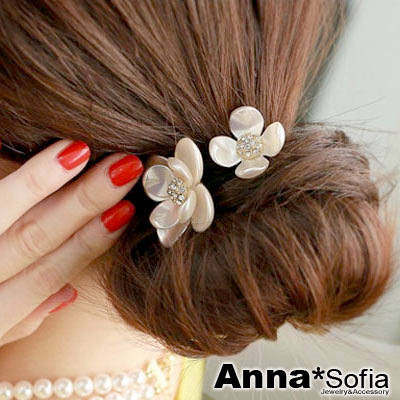 AnnaSofia-珠彩雙鑽花-彈性髮束-珠白系