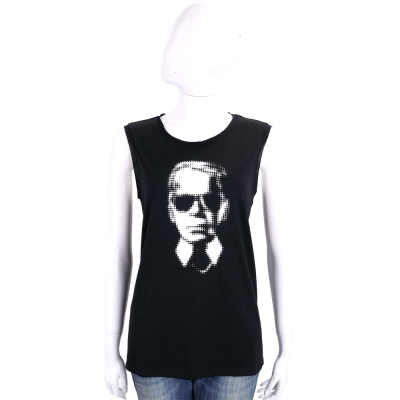 Karl Lagerfeld Striprd Linen 黑色老佛爺黑白肖像背心上衣