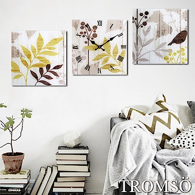 TROMSO品味北歐-玻璃三入無框畫時鐘-北歐金葉