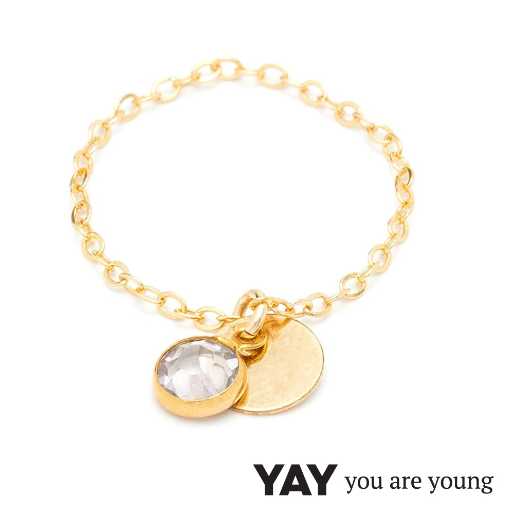 YAY You Are Young 法國品牌 Sultane 透明水晶鍊戒 金色