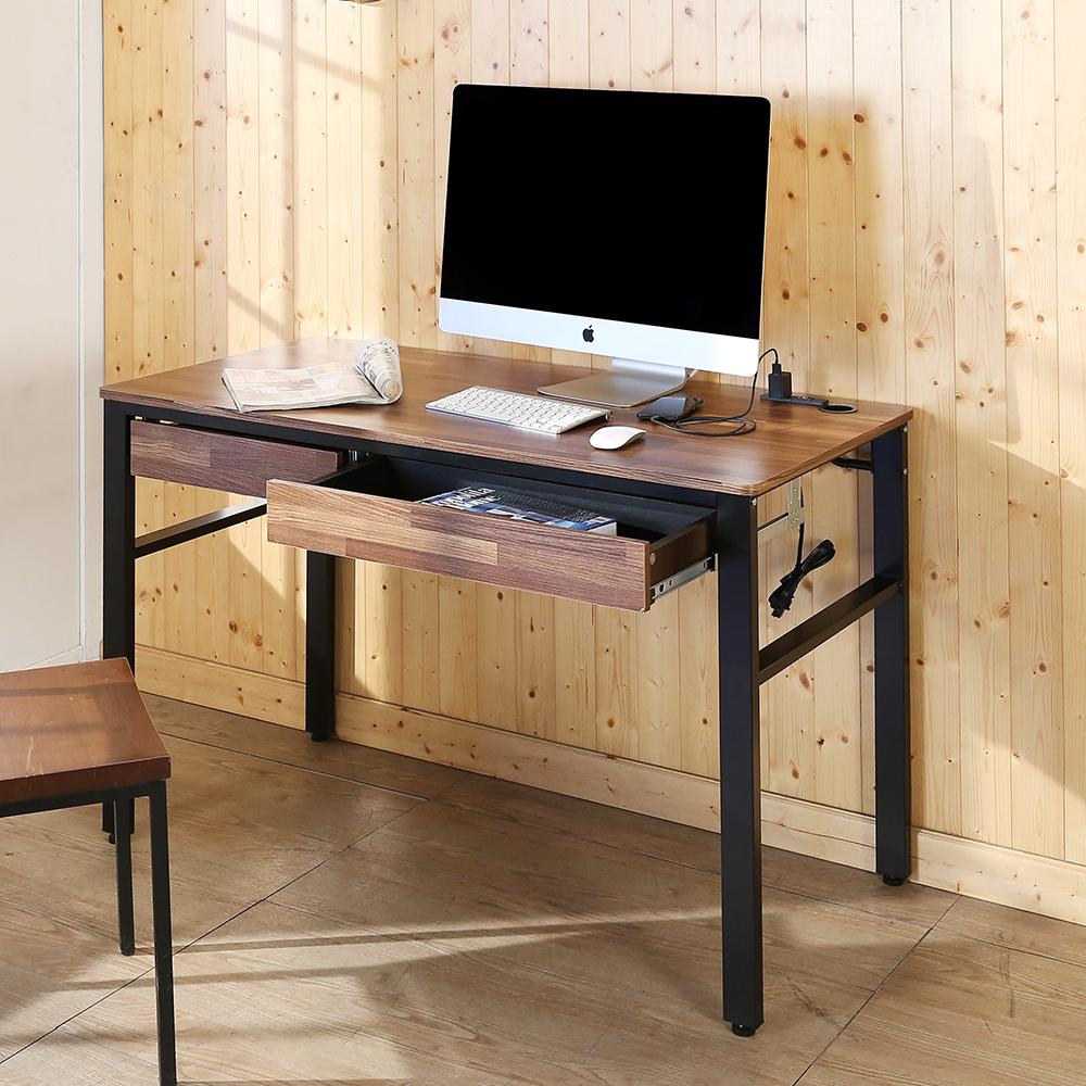 BuyJM工業風低甲醛防潑水120公分雙抽屜附插座書桌120x60x79公分-DIY