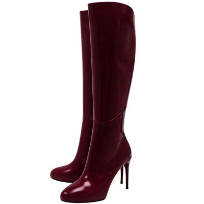 GUCCI 紫紅色亮面漆皮時尚高跟長靴