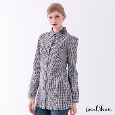 Earl Jean 格紋綁帶長版襯衫-黑色-女