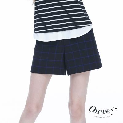 OUWEY歐薇-簡約質感方格短褲-藍