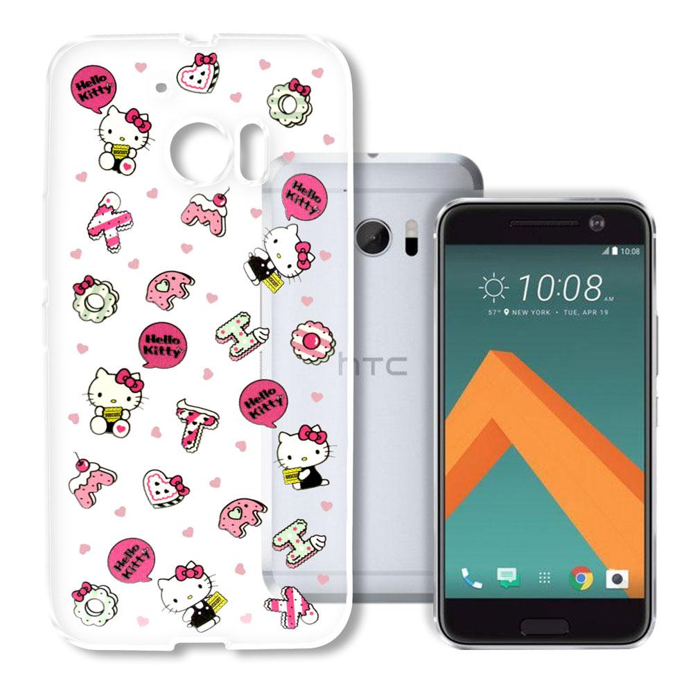 Hello Kitty HTC 10 / M10 浮雕彩繪透明軟殼(繽紛點心)