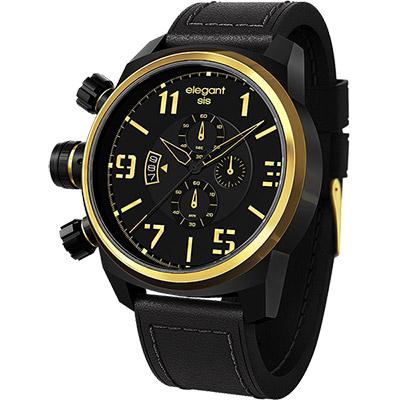 elegantsis Army 叢林戰鬥強悍三眼計時腕錶-黑x金/48mm