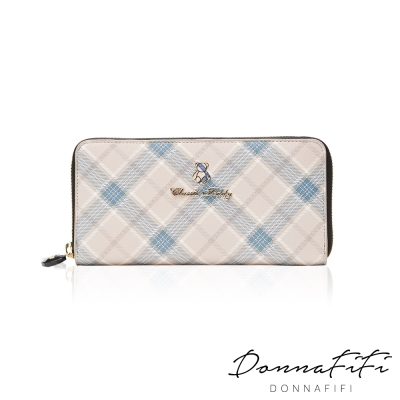 DONNAFIFI-Classic-Teddy蘇格蘭格紋系列長夾-奢華藍