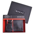 GUESS 圓形Logo壓印皮革短夾/鑰匙圈 - 黑