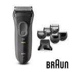 (福利品)德國百靈BRAUN-新三鋒系列電鬍刀造型組(黑)3000BT
