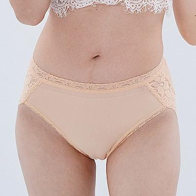 內褲 優雅蕾絲花邊100%蠶絲中高腰三角內褲 (黃) Chlansilk 闕蘭絹