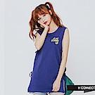 H:CONNECT 韓國品牌 女裝-側綁帶棉質背心-藍