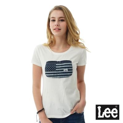 Lee 國旗大口袋短袖圓領TEE/RG-女款-白