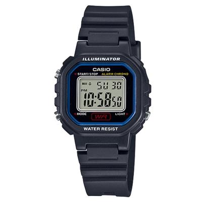 CASIO 黑色炫風方形電子錶(LA- 20 WH- 1 C)-藍線框/ 30 . 4 mm