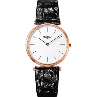 LONGINES 浪琴 La Grande 嘉嵐系列石英錶-白x玫塊金框/36mm