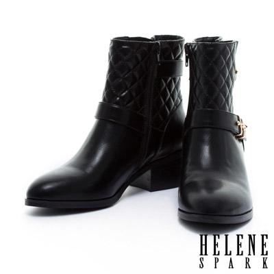 短靴HELENE-SPARK-時尚亮面環繞繫帶羊皮粗跟短靴-黑
