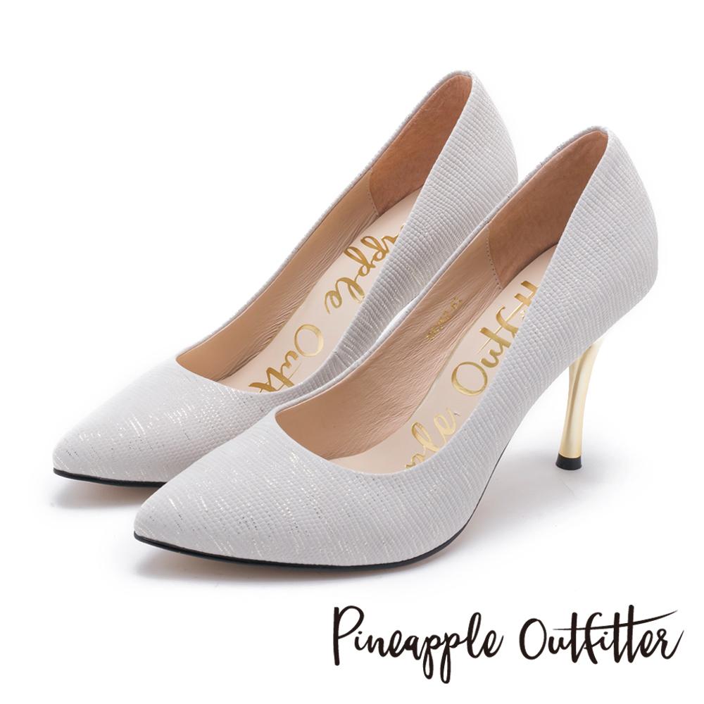 Pineapple Outfitter 時髦女伶 性感尖頭蛇紋金屬高跟鞋-淺灰