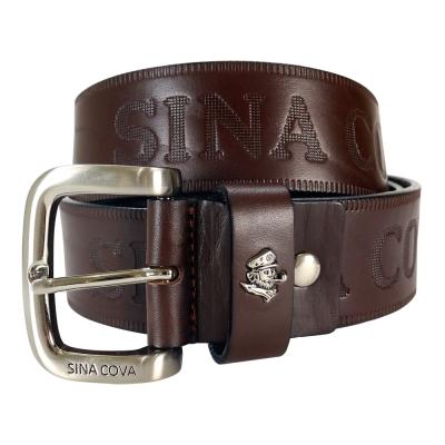 SINA COVA 老船長品牌經典壓紋牛皮休閒皮帶 SC2251-3咖啡