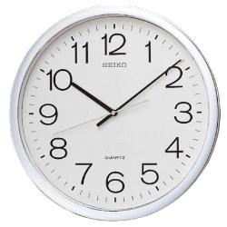 SEIKO 精工 銀框 標準型 辦公室掛鐘(QXA020S)-白/36cm