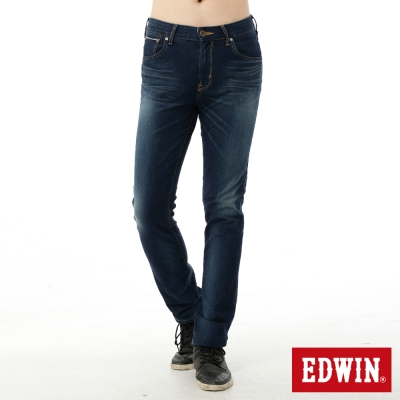 EDWIN 大尺碼 迦績褲內藏紅布邊牛仔褲-男-中古藍