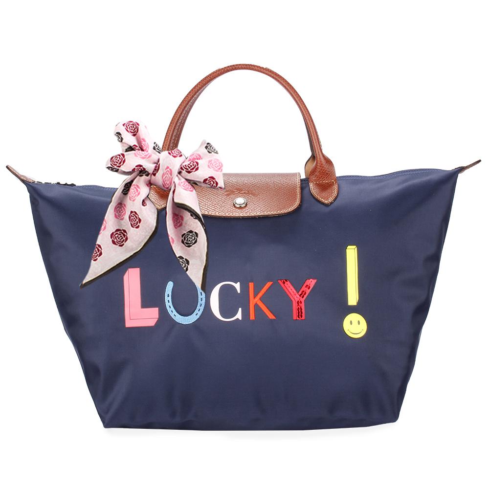 Longchamp Le Pliage Lucky刺繡字樣中型水餃包(短把/藍)-贈帕巾