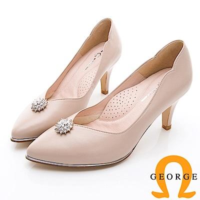 GEORGE 喬治-婚鞋系列 璀璨鑽飾尖頭中跟鞋-裸