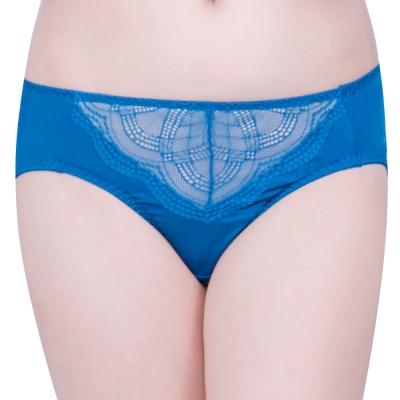 思薇爾 戀波系列M-XXL蕾絲中腰三角褲(藍寶石)