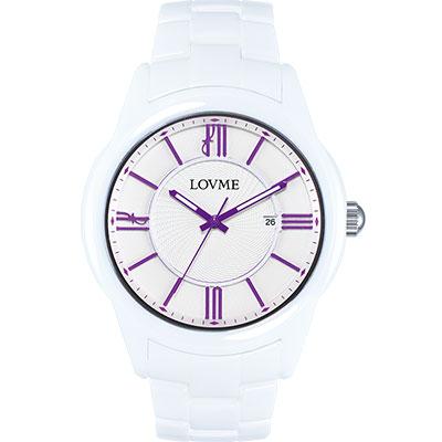 LOVME 羅馬戀人陶瓷時尚腕錶-白x紫刻度/44mm