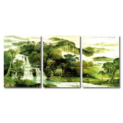橙品油畫布- 三聯無框圖畫藝術家飾品 - 地靈人傑30*40cm