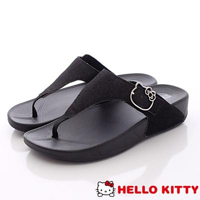 Hello Kitty-閃亮金蔥夾腳款-NI16120黑(女段)