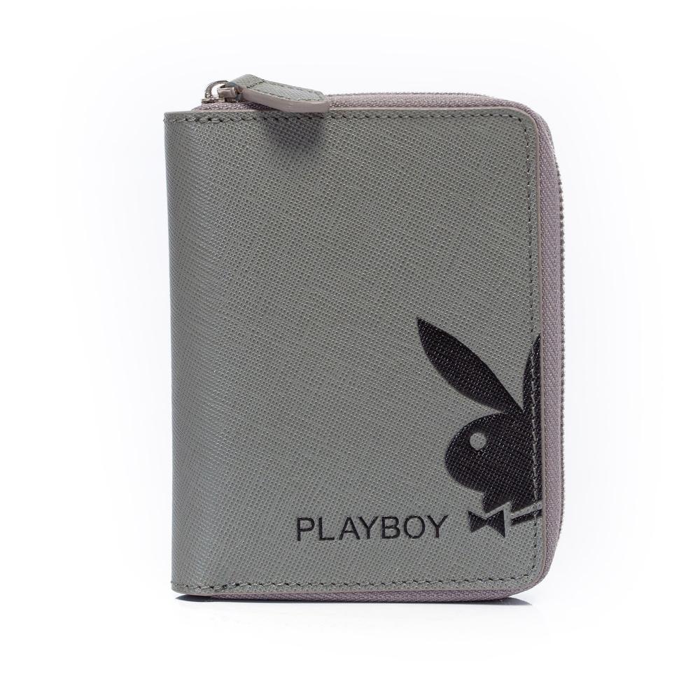 PLAYBOY- Fusion 融合色變系列 拉鍊短夾-深灰色