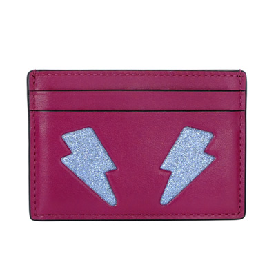 COACH EMOJI紫紅亮粉閃電眼全皮雙面名片/票卡夾COACH