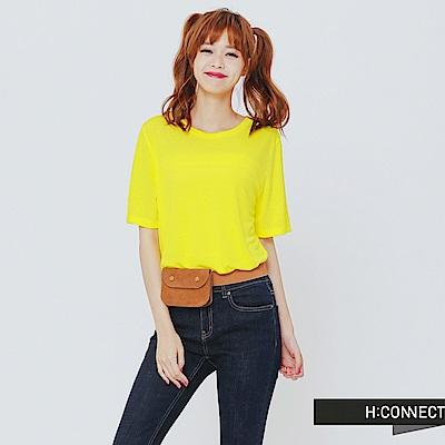 H:CONNECT 韓國品牌 女裝 - 圓領純色柔軟T-Shirt-黃